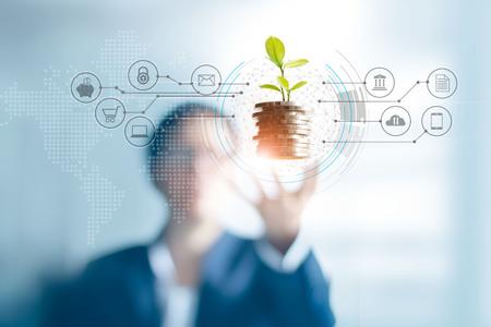 Uomo d'affari che tiene un germoglio di albero che cresce su monete, investimento astratto di crescita. Cliente finanziario e icona, connessione di rete bancaria sull'interfaccia, marketing digitale, crescita degli investimenti e concetto di tecnologia aziendale