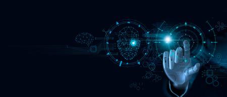 機械学習。コンピュータチップとバイナリデータに触れるロボットの手。未来的人工知能(AI)。ディープラーニング。ニューラルネットワーク。脳を表す。正確な顔認識検出の革新的な概念