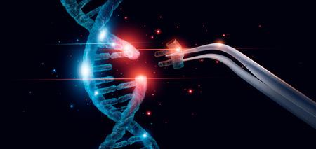 Molécula de ADN luminosa abstracta. Concepto de manipulación genética y genética. Corte de reemplazar parte de una molécula de ADN. Medicamento. Innovador en ciencia. Ciencias médicas y biotecnología. Foto de archivo