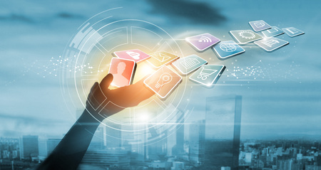 Hands holding icon payments, Digital marketing. Banking network. Online shopping and icon customer networking connection on city sunset background, Business technology concept.