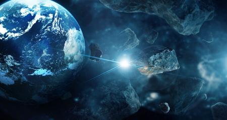 Meteorieten op planeten in de diepe ruimte. Asteroïden in een ver zonnestelsel. Science fiction concept.