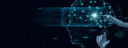 Nauczanie maszynowe. Ręka robota dotykająca danych binarnych. Futurystyczna sztuczna inteligencja (AI). Głęboka nauka. Reprezentowanie mózgu. Algorytm i innowacyjność. Sieć neuronowa. Wizualizacja dużych zbiorów danych.