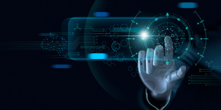 Machine learning. Hand of robot touching on binary data. Futuristic Artificial intelligence (AI). Deep Learning. Brain representing. Algorithm and innovative. Neural Network. Big data visualization.