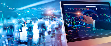 A businessman touching stock market chart to check and analyzing market data stock ,market exchange, graph growth on interface virtual screen and business group on background