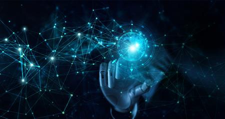 グローバルな未来的なネットワーク接続に触れるロボットの手。AI、人工知能、IoT、イノベーション、テクノロジー。