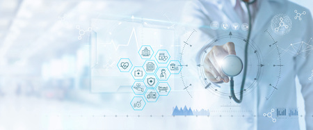 Health Insurance concept. Medicine doctor and stethoscope in hand touching health insurance related icon on virtual screen interface. Modern Health insurance and medical technology network.
