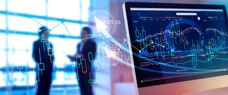 Investing and stock market gain and profits with graph charts, diagrams, growth, financial figures and investor business