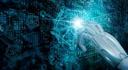 Touch the future, Modern interface digital technology, Machine learning. AI. Networking and connecting the world.