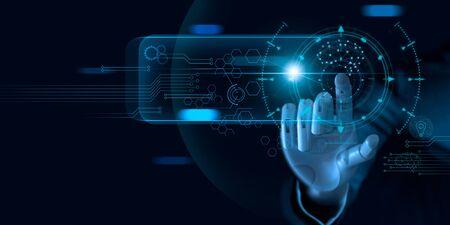 Apprentissage automatique. Main de robot touchant des données binaires. Banque d'images