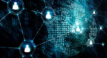 Business of global structure networking and data exchanges customer connection on dark