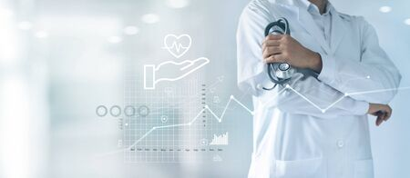 Healthcare business graph and Medical examination Imagens