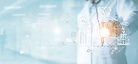 Assurance-maladie, graphique d'affaires de soins de santé et examen médical