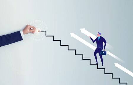 Businessman hand drawing a line stair to the target, increasing business. Imagens