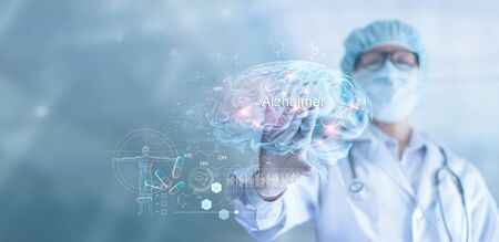Abstract, Doctor checking and analysis Alzheimers disease and dementia of brain Imagens
