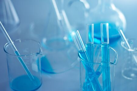 Laboratory research medical and scientific chemical glass flasks