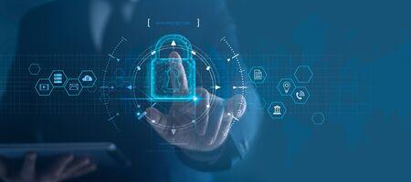 Sieć bezpieczeństwa cybernetycznego. Ikona kłódki i sieci technologii internetowych.