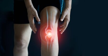 Elderly woman suffering from pain in knee.