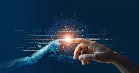 AI, Machine learning, Hands of robot and human touching on big data network connection background, Science and artificial intelligence technology, innovation and futuristic. Imagens