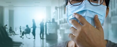 Women wearing virus mask protect of infection and spreading Coronavirus or Covid-19 and patients come to the hospital