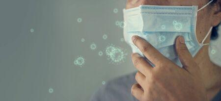 Elderly women wearing virus mask protect of infection
