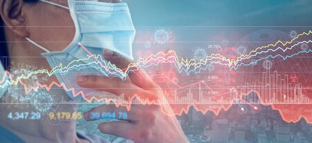 Businessman with mask, Analysis corona virus economic impact Stockfoto