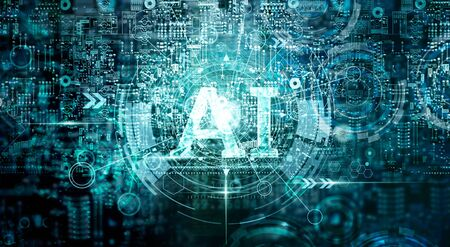Background of Artificial Intelligence (AI) for technology, innovation and networking.