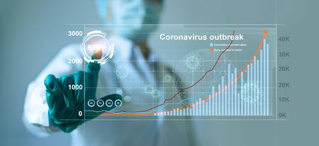 Doctors press the button to stop the infection of the coronavirus that has a graph and the outbreak chart of pandemic spread around the world.