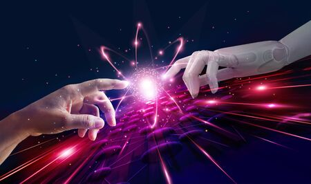 Robot and human hand connection technology and new era of innovation on modern virtual interface, Technology and science. Stockfoto