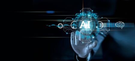 Hand of robot touching modern interface and AI word (Artificial intelligence), Connection technology and new era of innovation, Machine learning, AI, Technology and science. Stockfoto