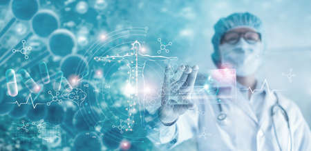 Medicine doctor holding hologram virtual interface electronic medical record. DNA. Analysis digital healthcare on network connection medical technology, Innovative and futuristic.