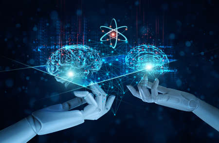 Hands of artificial intelligence (AI) touching a brains, Symbolic, Machine learning, of futuristic technology. Big data, Science, AI network on business analysis, innovative and business growth development.