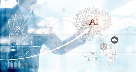 Businessman draw a network of brain Artificial Intelligence (AI) and chart of business on big data technology on virtual interface, Innovative and futuristic marketing, Internet of Things and  Industry 4.0.