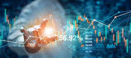 Businessman hand touching of forex graph growth interface and financial data analysis. Stock market on blue background. 版權商用圖片 - 155846393