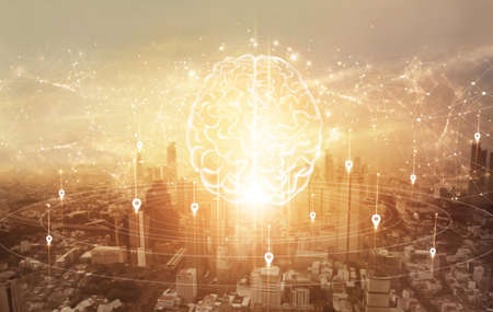 Smart intelligent communication. Abstract Brain with network and connection technology on modern city background. Networking. Innovative technology in science and communication concept. 版權商用圖片 - 161884120