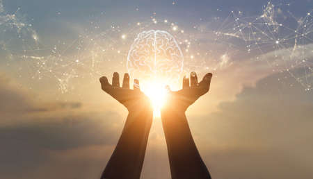 Abstract palm hands holding brain with network connections, innovative technology in science and communication concept 版權商用圖片