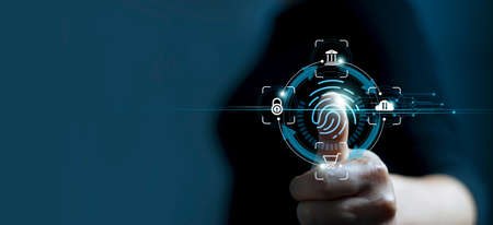 Technology safety of future and cybernetic on internet, Fingerprint scan provides access of security and identification of business, Big Data, Banking and Cloud computing.