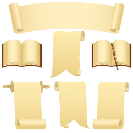 Grunge scrolls, books and banner(vector, CMYK) Illustration