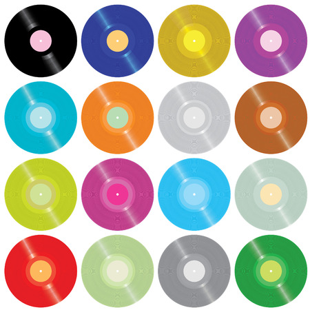 turntable: Set of motley old vinyl records isolated on white(vector)