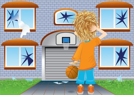 basketbal jongen en gebroken ramen, oeps (vector, CMYK) Vector Illustratie
