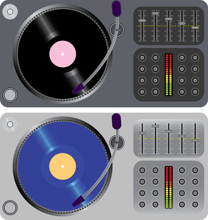 mixer console: two dj turntables isolated on white(vector, CMYK)