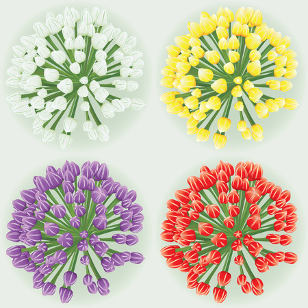 Motley tulip bouqet set(vector, CMYK)
