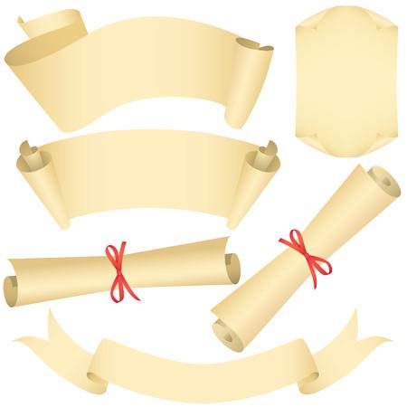 Grunge banners, scrolls, diploma set (vector, CMYK)