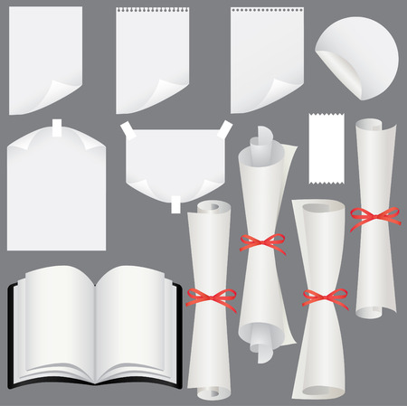 Paper sheets, scrolls  and book set (vector, CMYK)