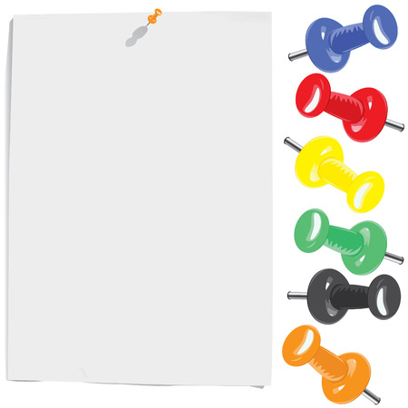 White paper sheet and motley pins set (vector, CMYK)