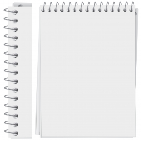 binders: high detailed spiral bound notepad page (vector, CMYK)