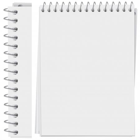 gefesselt: hoch detaillierte Spirale gebunden notepad Seite (Vektor, CMYK) Illustration