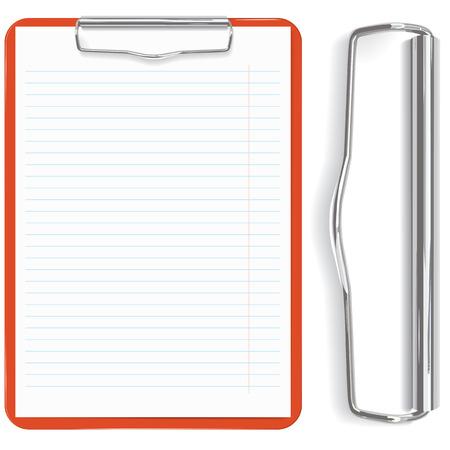 portapapeles: alta detallada portapapeles rojo y hoja de papel (vector, CMYK)