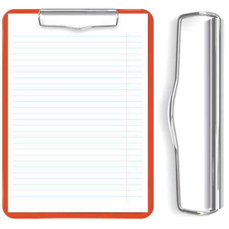 gedetailleerde hoge rode klembord en papier vel (vector, CMYK)