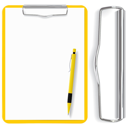 memo board: vector high detailed clipboard, paper sheet and pen(CMYK)