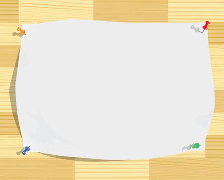 tack board: Hoja de papel blanco y alfileres en la abigarrada textura de la madera (vector, CMYK)